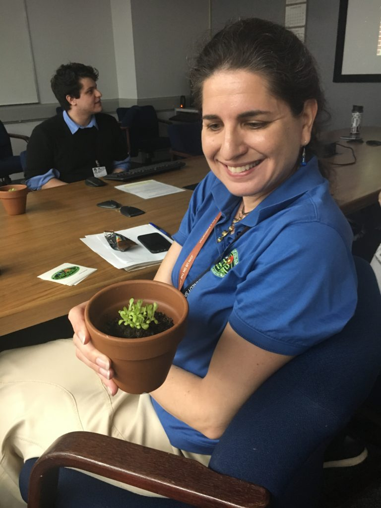Gioia Massa examines one of the plant samples for X-Hab 2018, on March 12, 2018