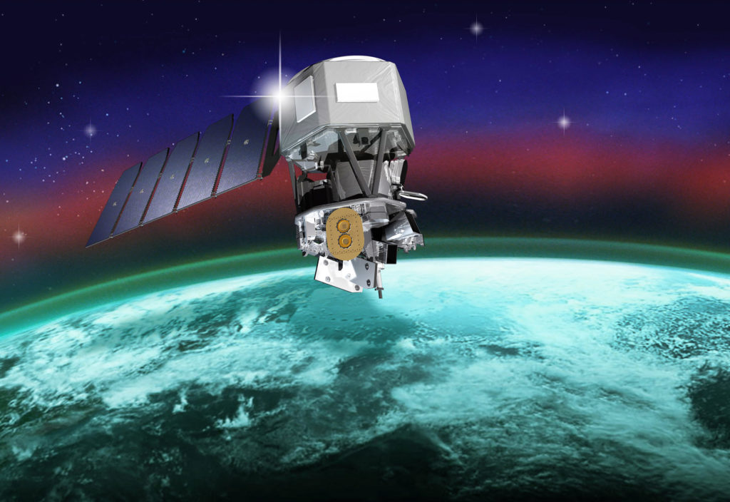 This illustration depicts NASA's Ionospheric Connection Explorer, or ICON, satellite that will study the frontier of space, the dynamic zone high in the atmosphere where terrestrial weather from below meets space weather from above. Photo credit: NASA