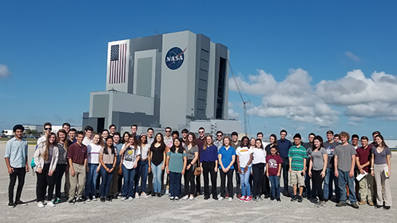 Top scholars from Brevard County high schools tour Kennedy Space Center in Florida, on Nov. 7, 2018.