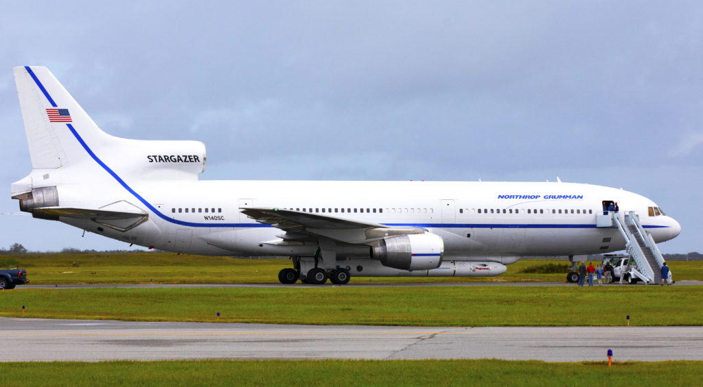 The Northrop Grumman L-1011 Stargazer aircraft is seen on the Skid Strip at Cape Canaveral Air Force Station. A Pegasus XL rocket is attached to the underside of the aircraft with NASA's Ionospheric Connection Explorer, or ICON, satellite.