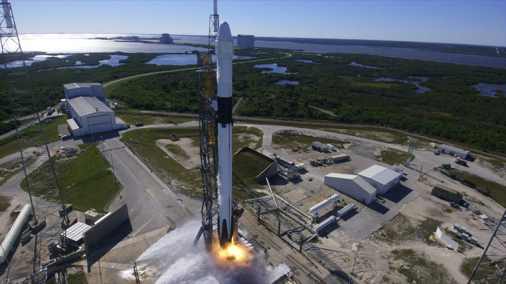 The SpaceX Falcon 9 rocket and Dragon spacecraft lift off from Cape Canaveral Air Force Station's Launch Complex 40
