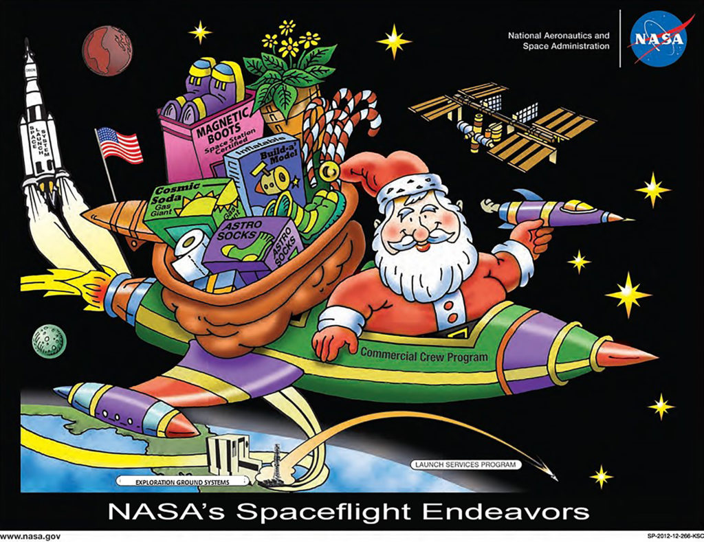 Kennedy Space Center's holiday poster, depicting Santa Claus and NASA's programs at the Florida spaceport.