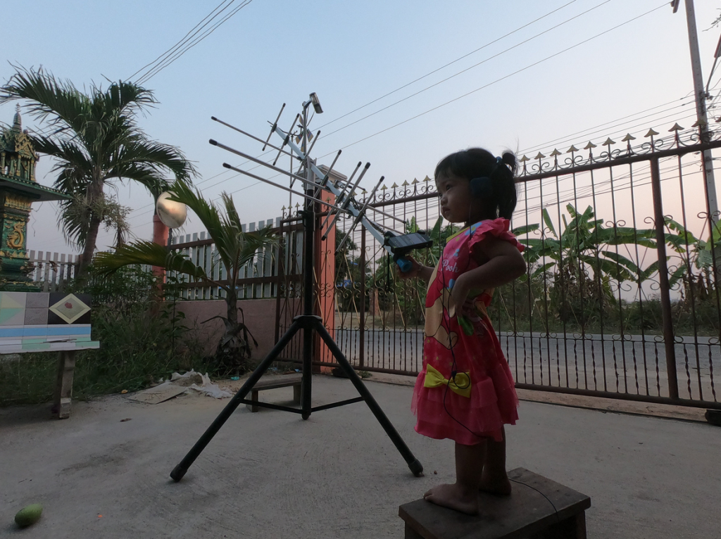 Ham radio operator Choke E29AHU from Thailand shared this photo on Twitter of his 2-year-old daughter participating in the event. Photo credit: Twitter user @chokelive