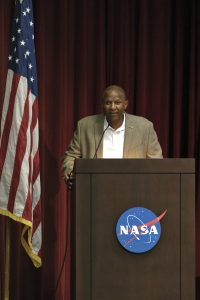 "Kelvin Manning, Kennedy Space Center associate director, technical, delivers opening remarks for ""Columbia: The Mission Continues."" The event took place on the 38th anniversary of STS-1, the first orbital spaceflight of NASA's Space Shuttle Program."