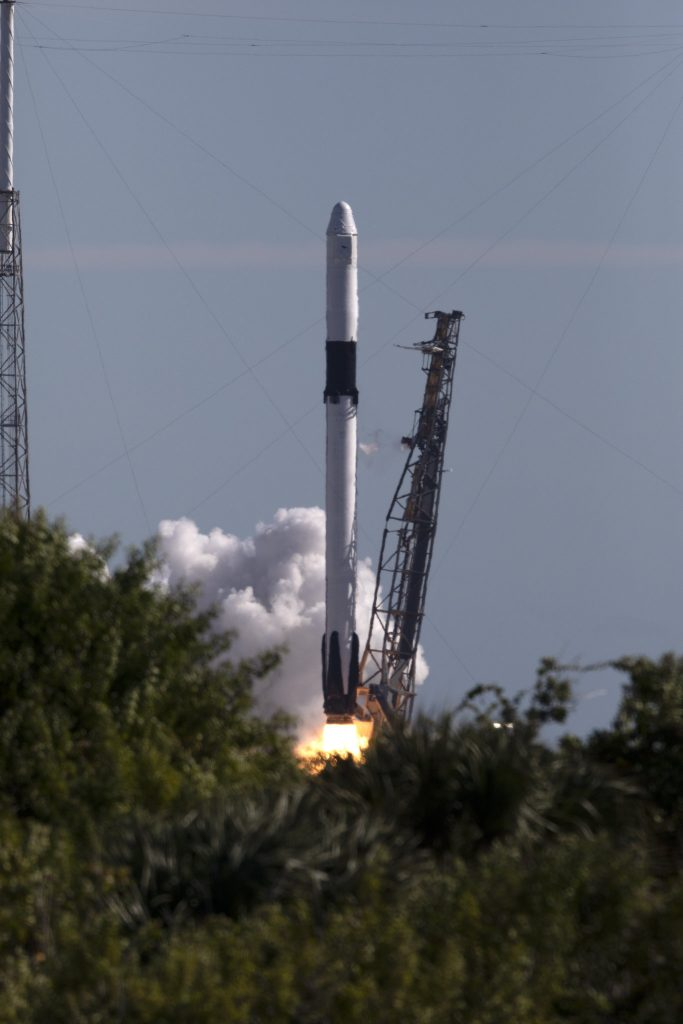 The two-stage Falcon 9 launch vehicle lifts off Space Launch Complex 40 at Cape Canaveral Air Force Station during SpaceX's 16th commercial resupply services mission to the International Space Station on Dec. 5, 2018. SpaceX is targeting Wednesday, May 1, at 3:59 EDT for its CRS-17 mission launch. Photo credit: NASA/Kim Shiflett
