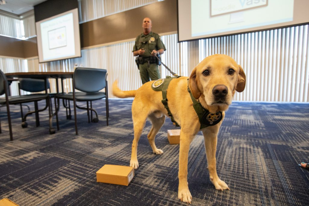 Fish and Wildlife Conservation Commission (FWC) Officer Jeff Sidor presents information on FWC's Port K9 Program to Kennedy Space Center employees in the Space Station Processing Facility Conference Center on April 23, 2019 with FWC K9 Harry.