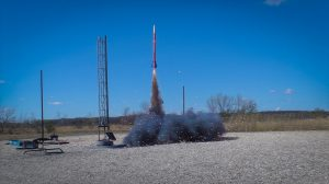 A team's rocket lifts off at the 10th annual First Nations Launch on April 26, 2019.