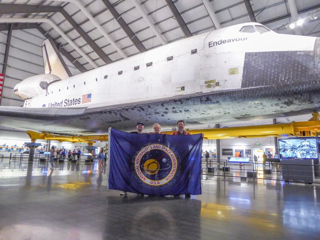 On the way to Everest Base Camp, the NASA flag made a stop at the California Science Center in Los Angeles, where shuttle Endeavour is displayed.