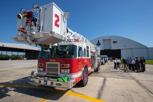 A Kennedy Space Center fire pumper truck stands at the ready during a medical support training course at the Florida spaceport's Shuttle Landing Facility on May 17, 2019.