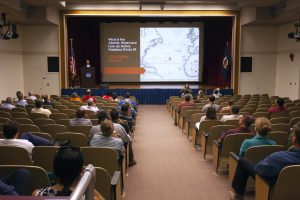 NASA Kennedy Space Center employees attend a presentation on June 11, 2019, on Native American presence in Florida in Kennedy's Training Auditorium.  Daniel Murphree, Ph.d., associate professor of history at the University of Central Florida, spoke on the impact Florida natives have had on, and how they were affected by, Atlantic World events from 1492 to the present.