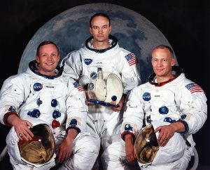 The three astronauts for the Apollo 11 lunar landing mission. Left to right are Neil A. Armstrong, commander; Michael Collins, command module pilot; and Edwin E. Aldrin Jr., lunar module pilot.