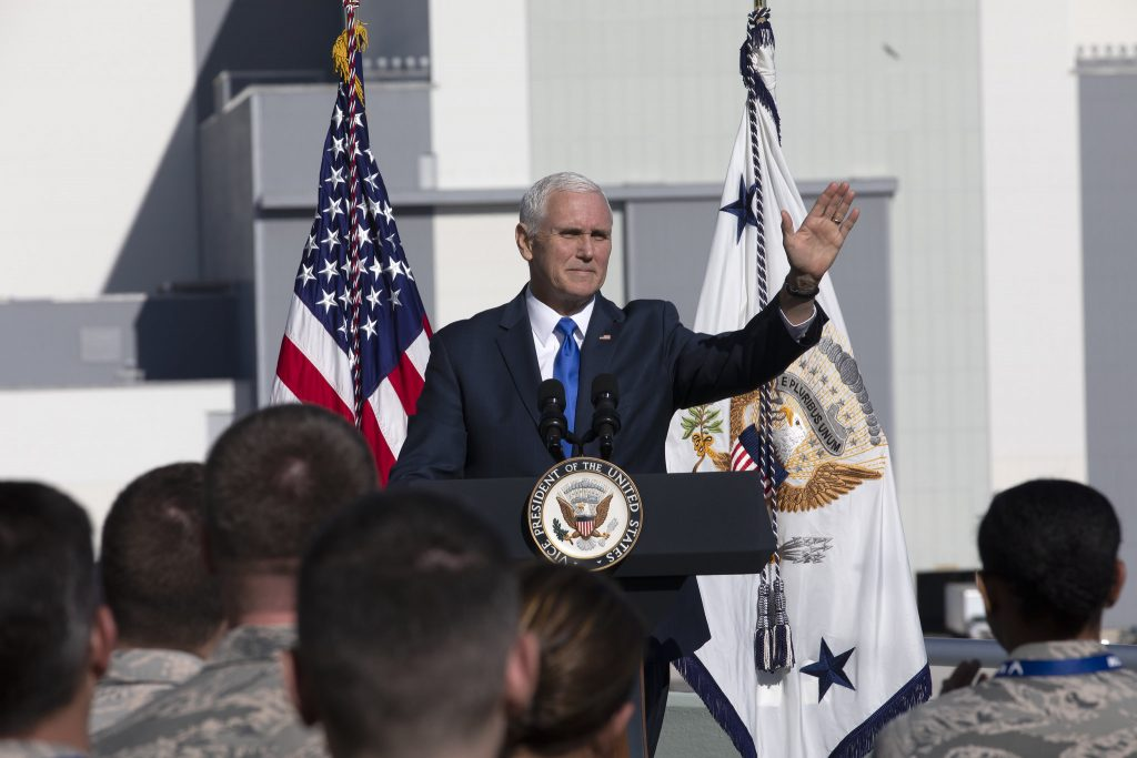 Vice President Mike Pence speaking at Kennedy Space Center in December 2018.