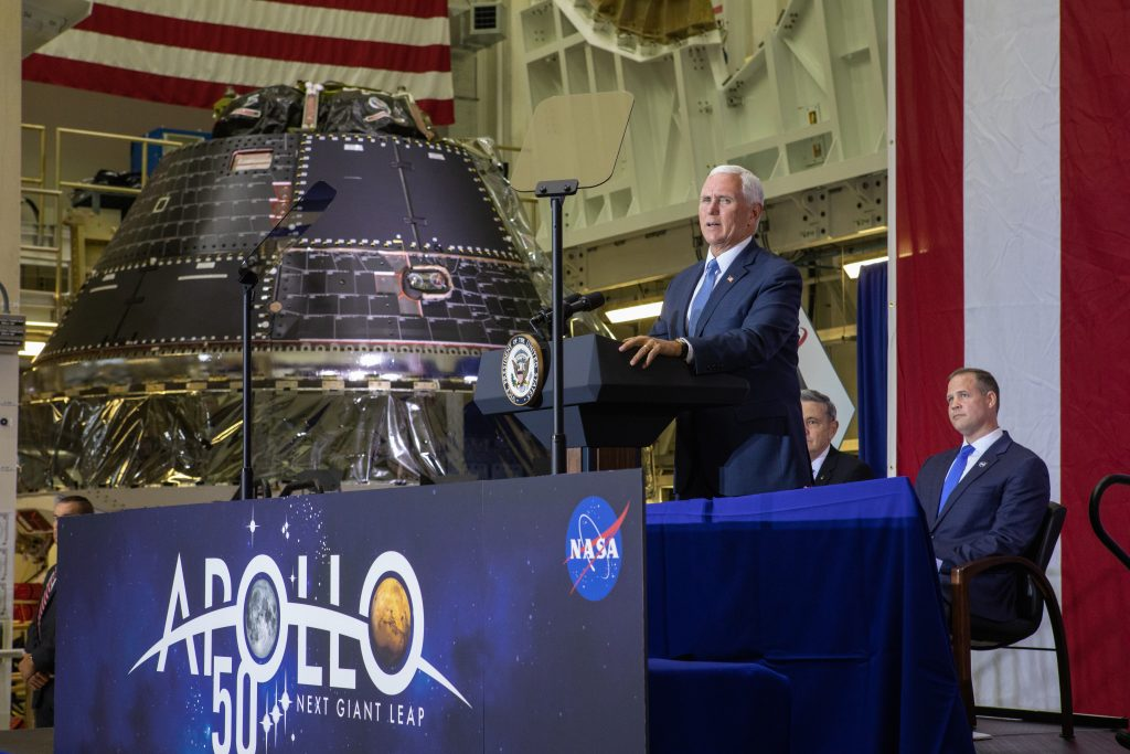 Vice President Mike Pence speaks at Kennedy Space Center on July 20, 2019