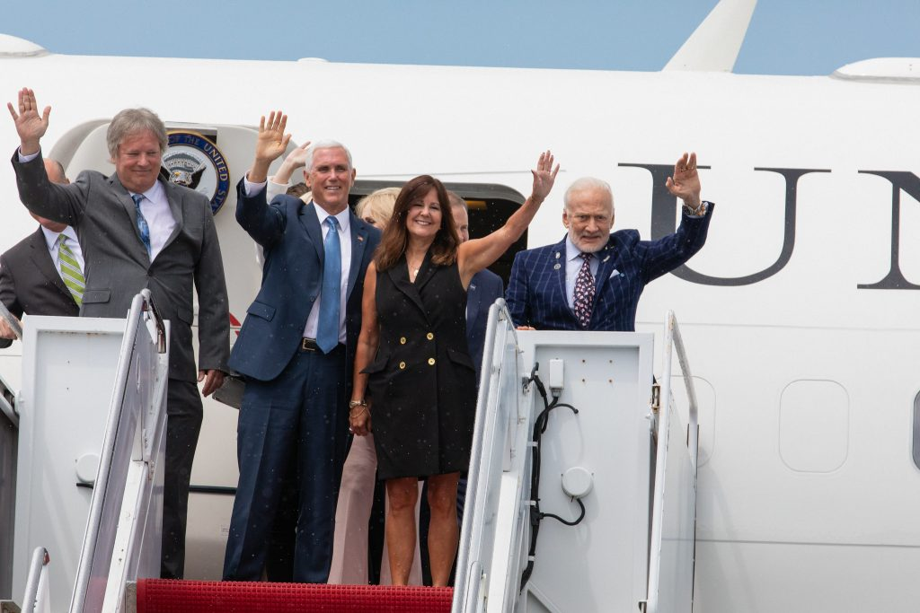 Vice President Pence arrives at Kennedy Space Center in Florida aboard Air Force Two on July 20, 2019