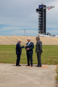 Vice President Mike Pence is at Launch Complex 39A at Kennedy Space Center in Florida on July 20, 2019, the 50th anniversary of the Apollo 11 launch to the Moon.