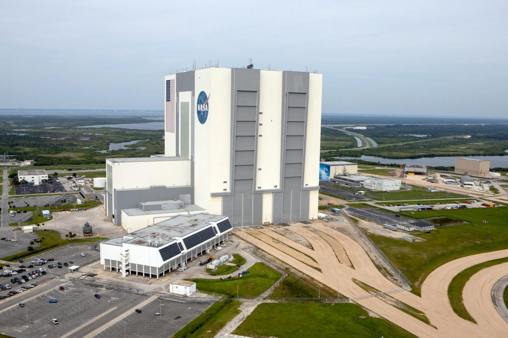 An aerial survey of NASA's Kennedy Space Center in Florida was conducted after Hurricane Dorian skirted the Space Coast area.