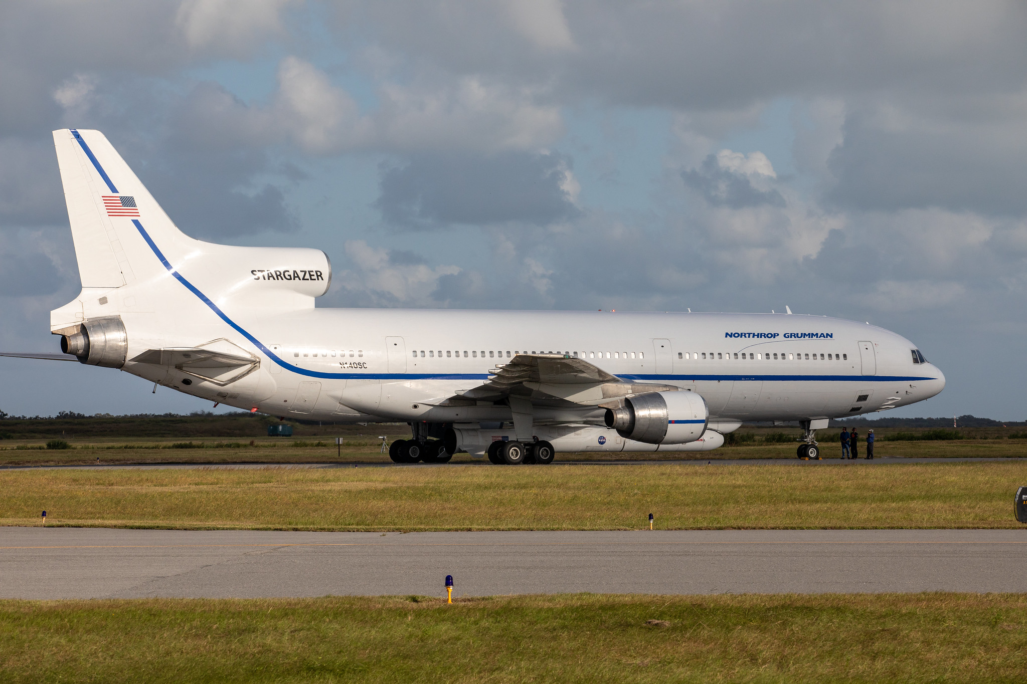 Northrop Grumman's L-1011 Stargazer aircraft has arrived at the Skid Strip at Cape Canaveral Air Force Station in Florida on Oct. 1, 2019.
