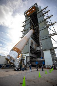 The United Launch Alliance Atlas V first stage is lifted to the vertical position on Nov. 4, 2019, in the Vertical Integration Facility at Space Launch Complex 41.