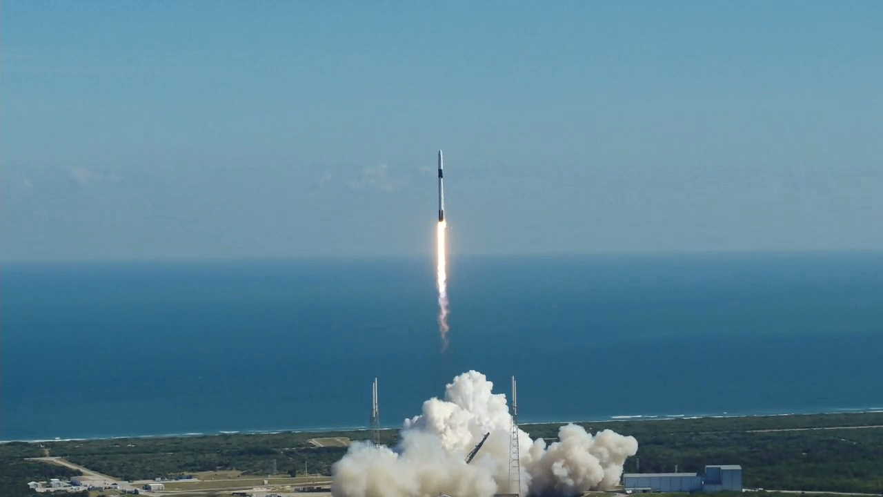 A SpaceX Falcon 9 rocket lifts off from Cape Canaveral Air Force Station's Space Launch Complex 40 in Florida at 12:29 p.m. EST on Dec. 5, 2019, for the company's 19th Commercial Resupply Services (CRS-19) mission to the International Space Station.