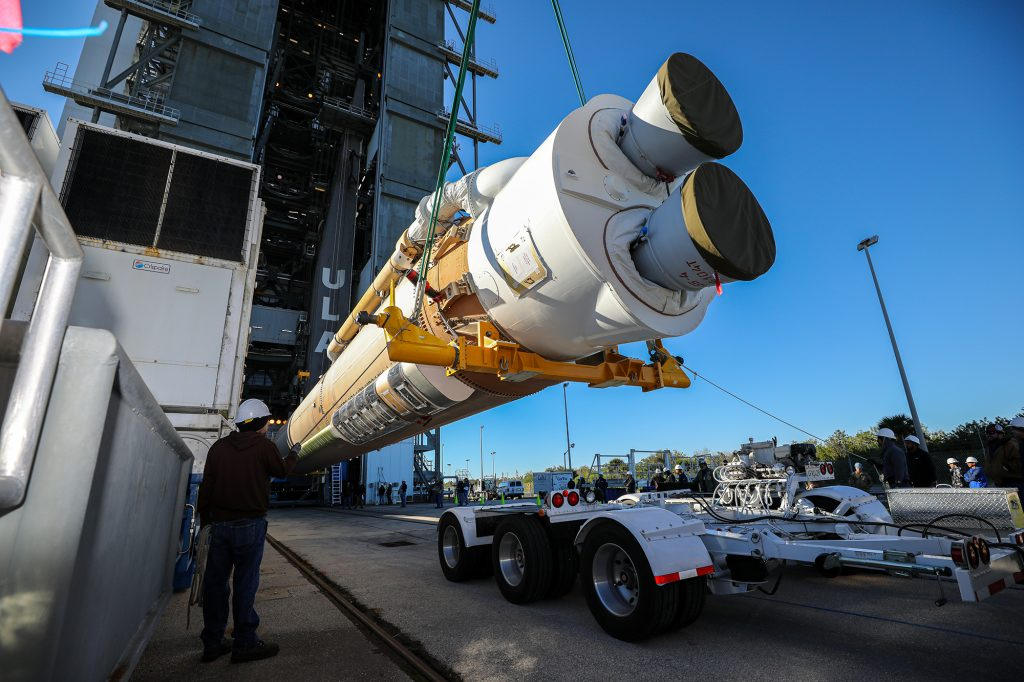 The booster of a United Launch Alliance Atlas V rocket that will launch the Solar Orbiter spacecraft is lifted into the vertical position at the Vertical Integration Facility near Space Launch Complex 41 at Cape Canaveral Air Force Station in Florida on Jan. 6, 2020.