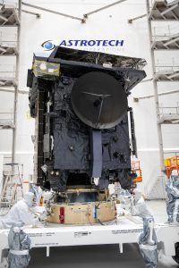 The Solar Orbiter spacecraft is prepared for encapsulation in the Atlas V payload fairing.