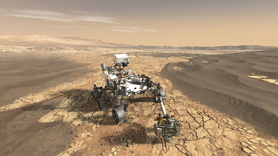 An artist's concept of NASA's Mars 2020 rover exploring the Red Planet.