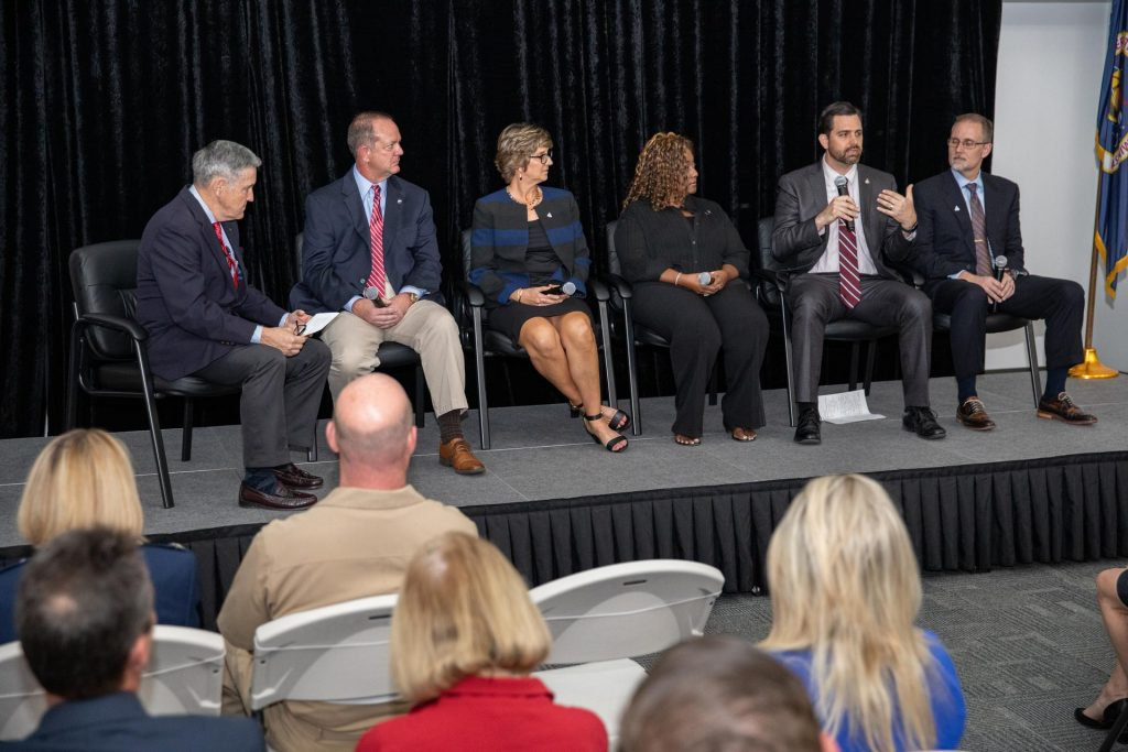 NASA Kennedy Space Center Director Bob Cabana, far left, moderates a panel discussion with senior leaders of NASA and center programs during a Community Leaders Update on Feb. 18, 2020, at the Kennedy Space Center Visitor Complex.