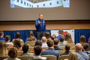 Kennedy Space Center Director Bob Cabana hosts a lunch and learn on March 4, 2020, inside the Florida spaceport's Training Auditorium during the center's annual Safety and Health Days.