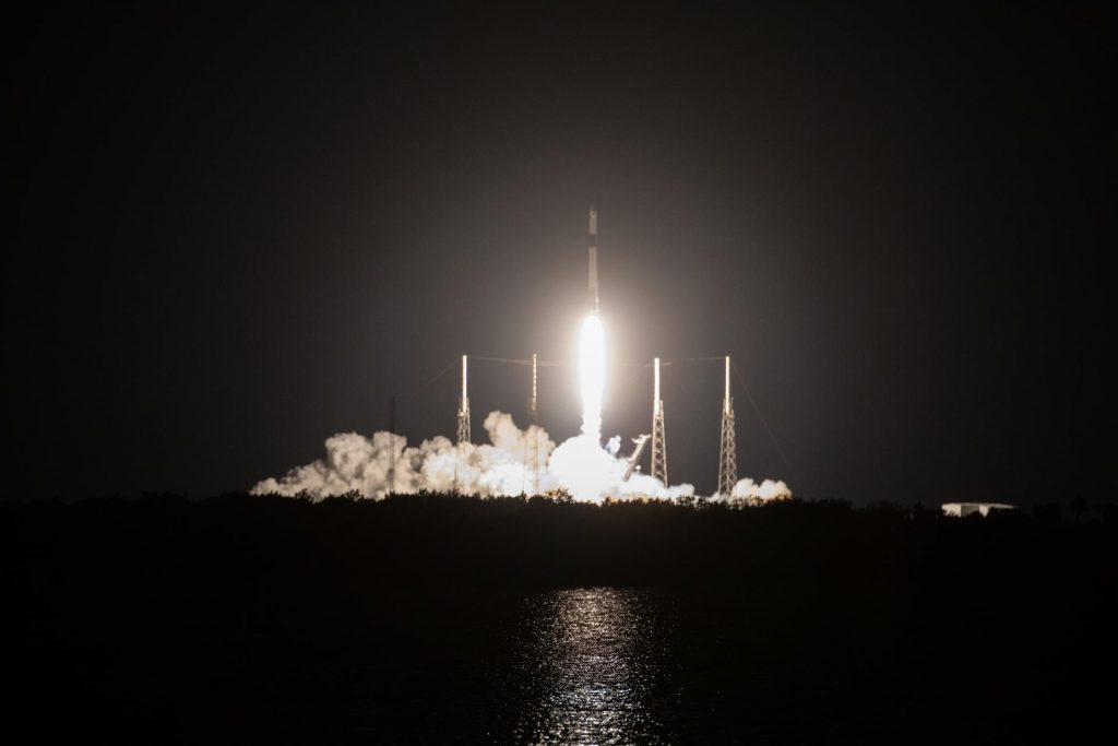 A SpaceX Falcon 9 rocket, with the uncrewed cargo Dragon spacecraft atop, lifts off from Space Launch Complex 40 at Cape Canaveral Air Force Station in Florida