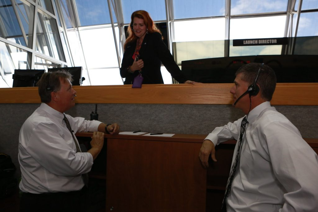 Charlie Blackwell-Thompson, Jeremy Graeber and Jeff Spaulding in Kennedy Space Center's Launch Control Center