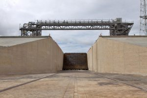 The main flame deflector and flame trench are in view at Launch Pad 39B at NASA's Kennedy Space Center in Florida.