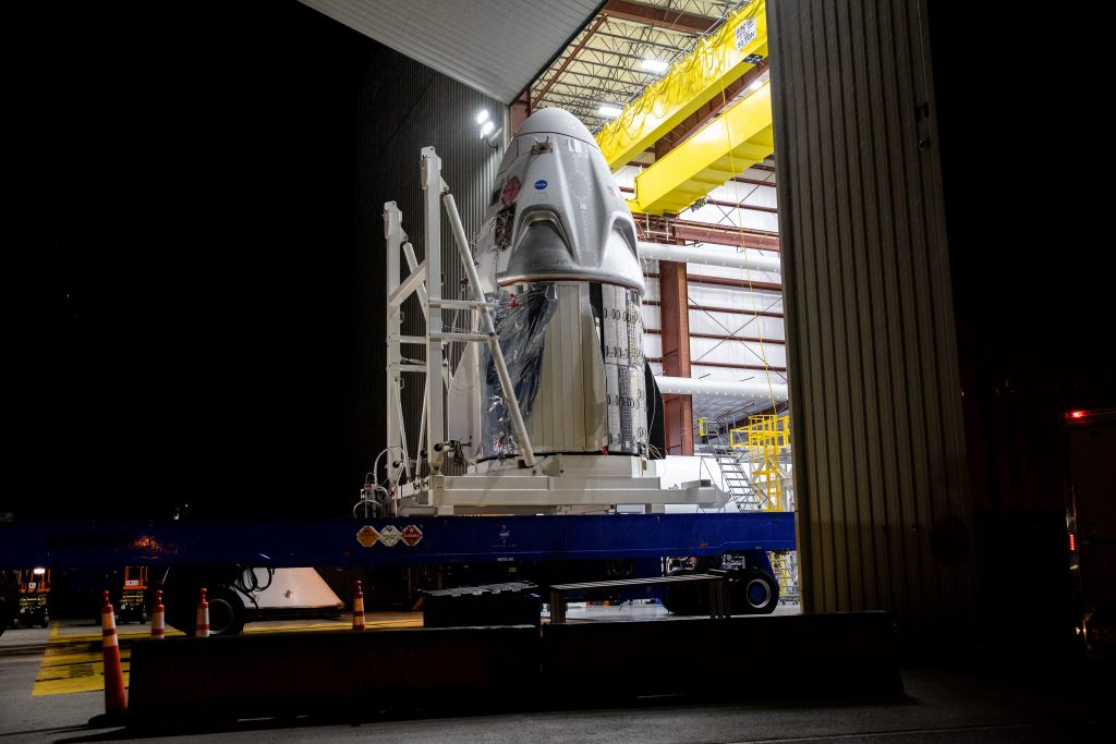 The SpaceX Crew Dragon spacecraft arrives at Launch Complex 39A at NASA's Kennedy Space Center in Florida