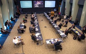 On May 21, 2020, inside the Operations Support Building II at NASA's Kennedy Space Center in Florida, NASA and SpaceX managers participate in a flight readiness review for the upcoming Demo-2 launch.