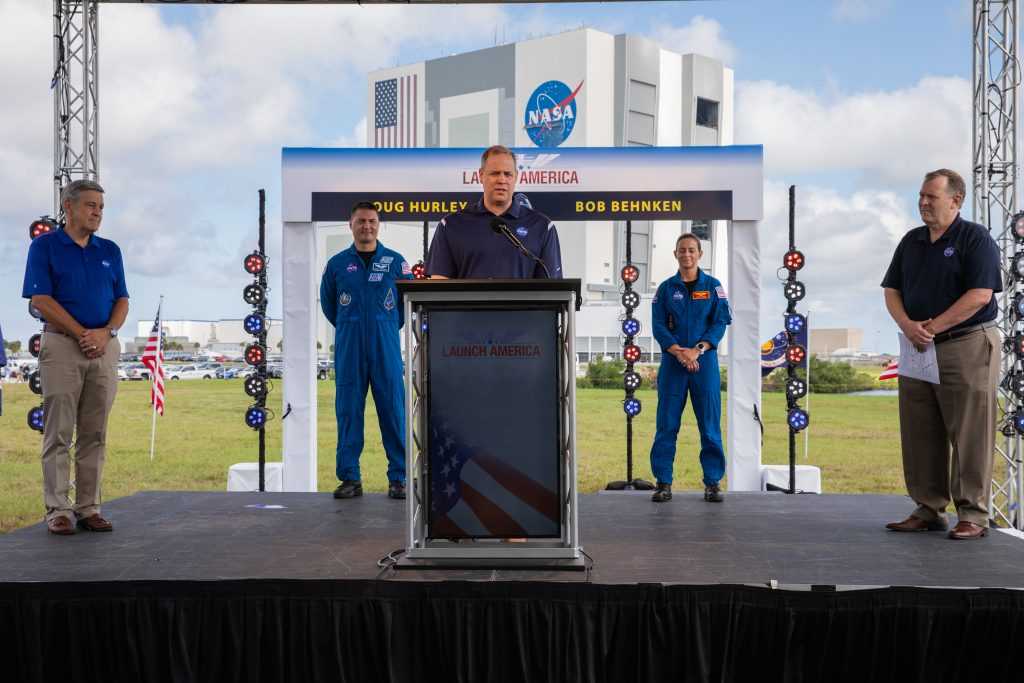 Agency leaders hold a press briefing on May 29, 2020, at NASA's Kennedy Space Center in Florida ahead of NASA's SpaceX Demo-2 launch, now scheduled for Saturday, May 30.