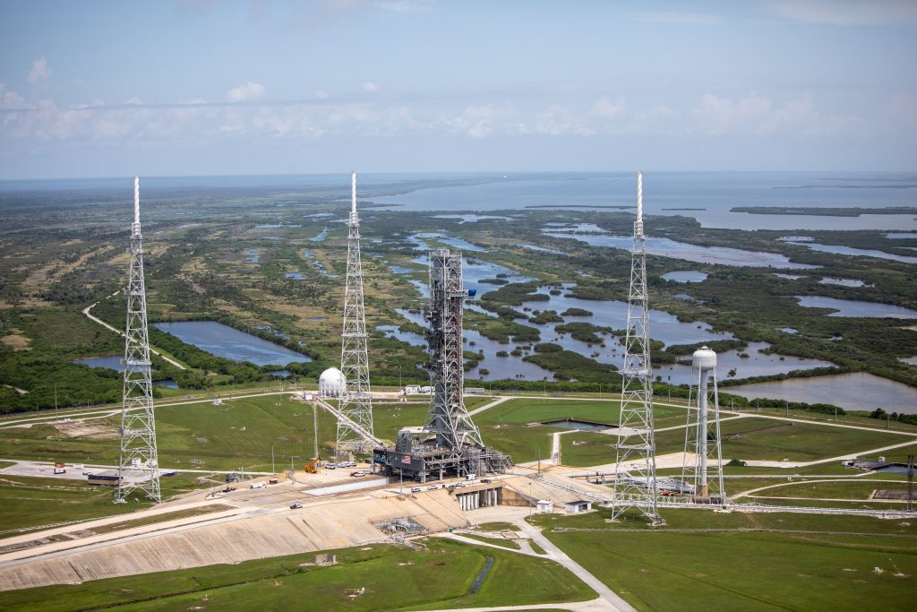 An aerial view of Launch Complex 39B at NASA's Kennedy Space Center in Florida.