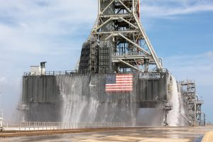 A water flow test was completed with the mobile launcher at Launch Pad 39B at NASA's Kennedy Space Center in Florida.