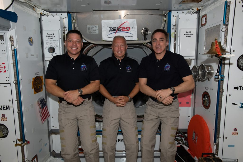 NASA astronauts (from left) Bob Behnken, Doug Hurley and Chris Cassidy are the U.S. members of the Expedition 63 crew aboard the International Space Station. Photo credit: NASA