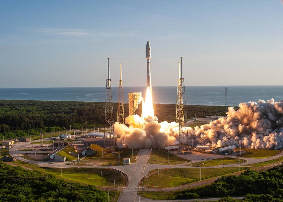 A United Launch Alliance Atlas V 541 rocket launches from Cape Canaveral Air Force Station's Space Launch Complex 41 carrying NASA's Mars Perseverance rover and Ingenuity helicopter.