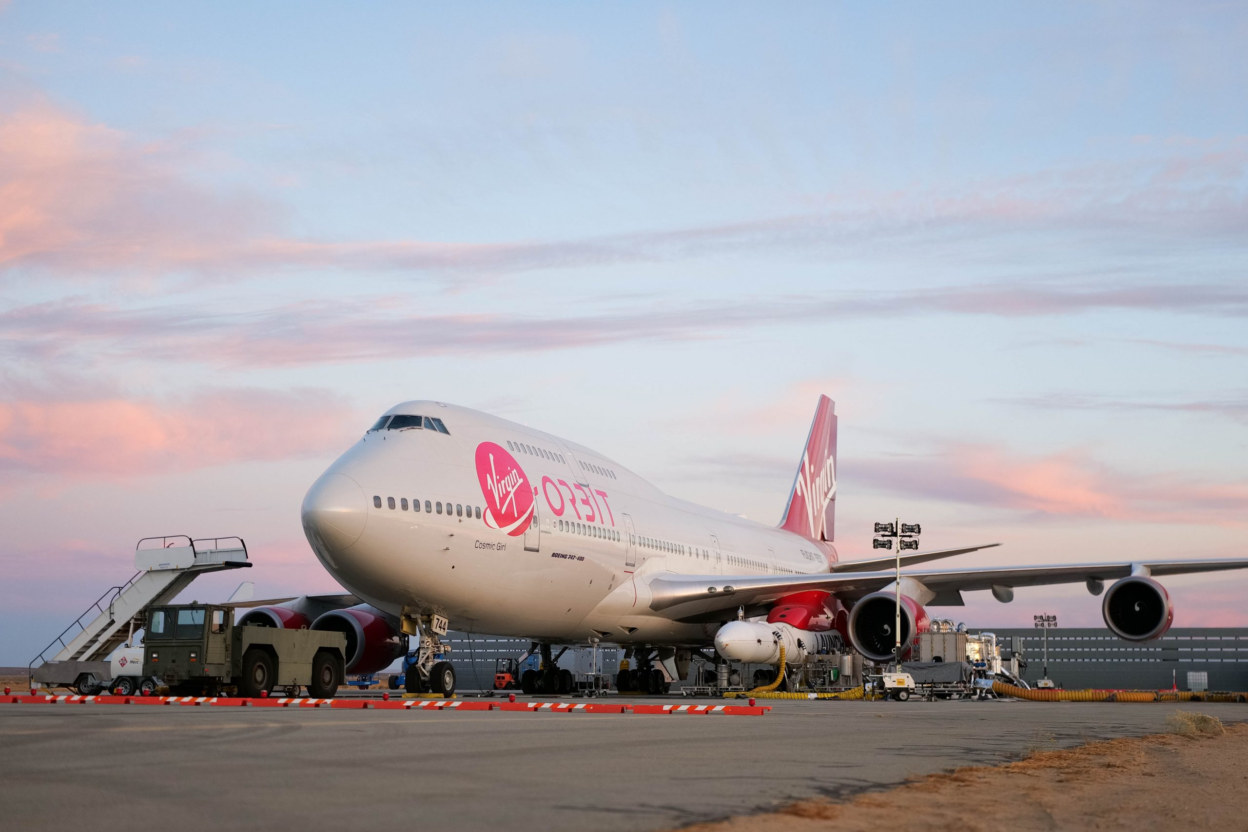 Virgin Orbit's LauncherOne system undergoes final preparations on a taxiway at Mojave Air and Space Port ahead of the company's Launch Demo 2 mission. Taken in late December 2020. Photo: Virgin Orbit/Greg Robinson.