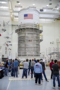 The ICPS is moved into the Multi-Payload Process Facility on Feb. 18, 2021 at Kennedy Space Center.