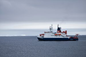 Icebreaker RV Polarstern that transported the team from Germany to Antarctica on a non-stop trip.