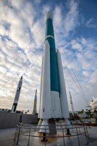 During a ribbon-cutting ceremony, the last United Launch Alliance Delta II rocket joins the lineup of historic launch vehicles in the Rocket Garden at the Kennedy Space Center Visitor Complex in Florida, on March 23, 2021.