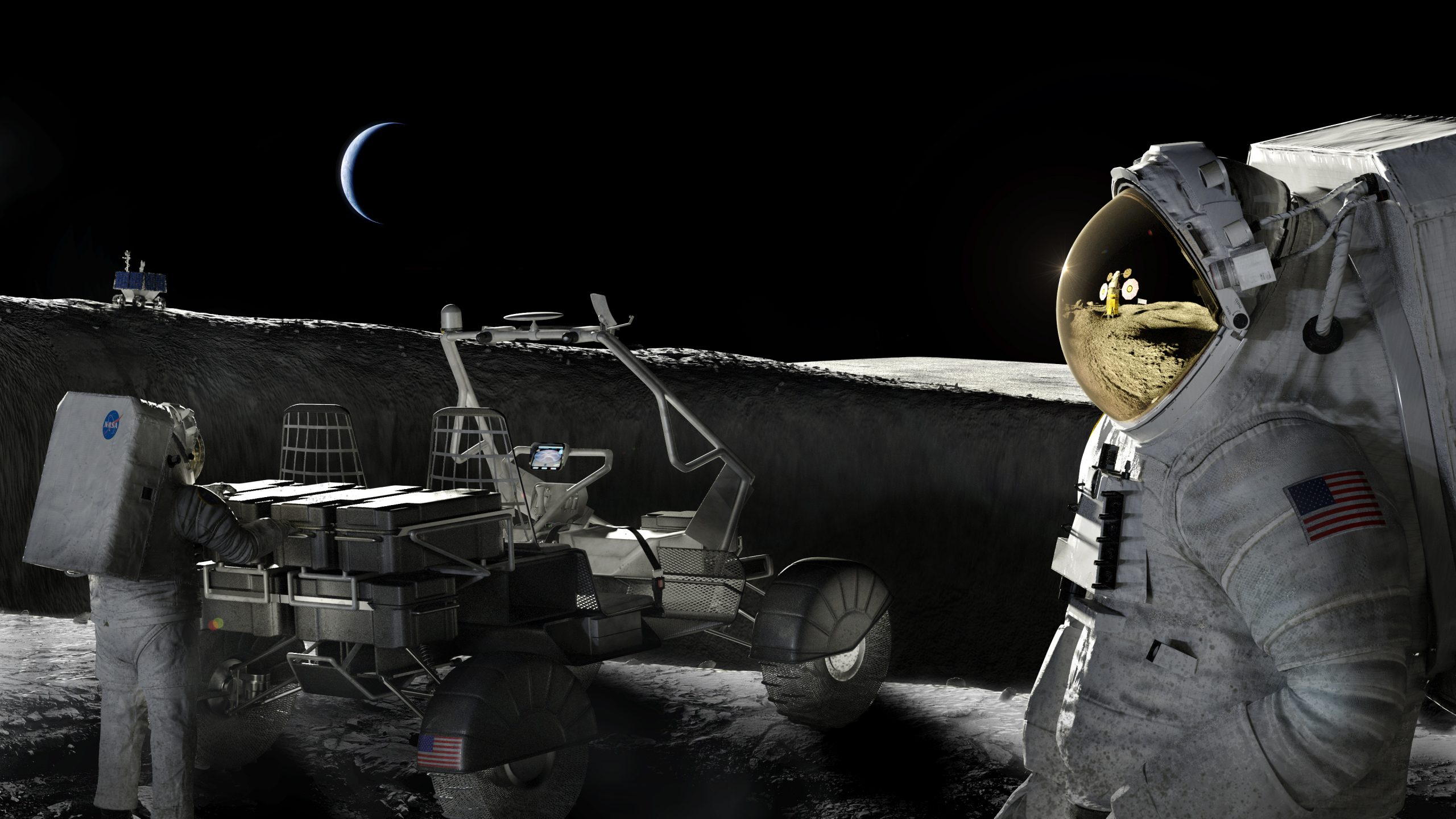 An illustration of astronauts on the Moon.