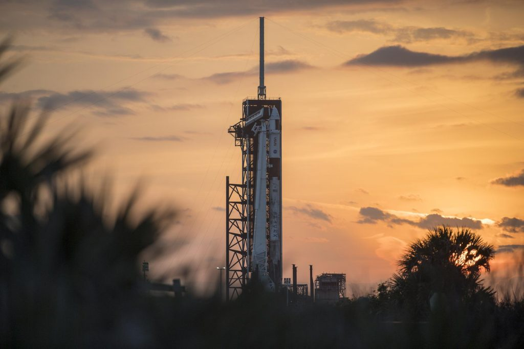 A SpaceX Falcon 9 rocket with the company's Crew Dragon spacecraft onboard is in view on the launch pad at Launch Complex 39A on Tuesday, April 20, 2021, as preparations continue for the Crew-2 mission at NASA's Kennedy Space Center in Florida.