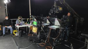 A behind-the-scenes look at the camera setup for a launch broadcast hosted at the NASA News Center at Kennedy Space Center.
