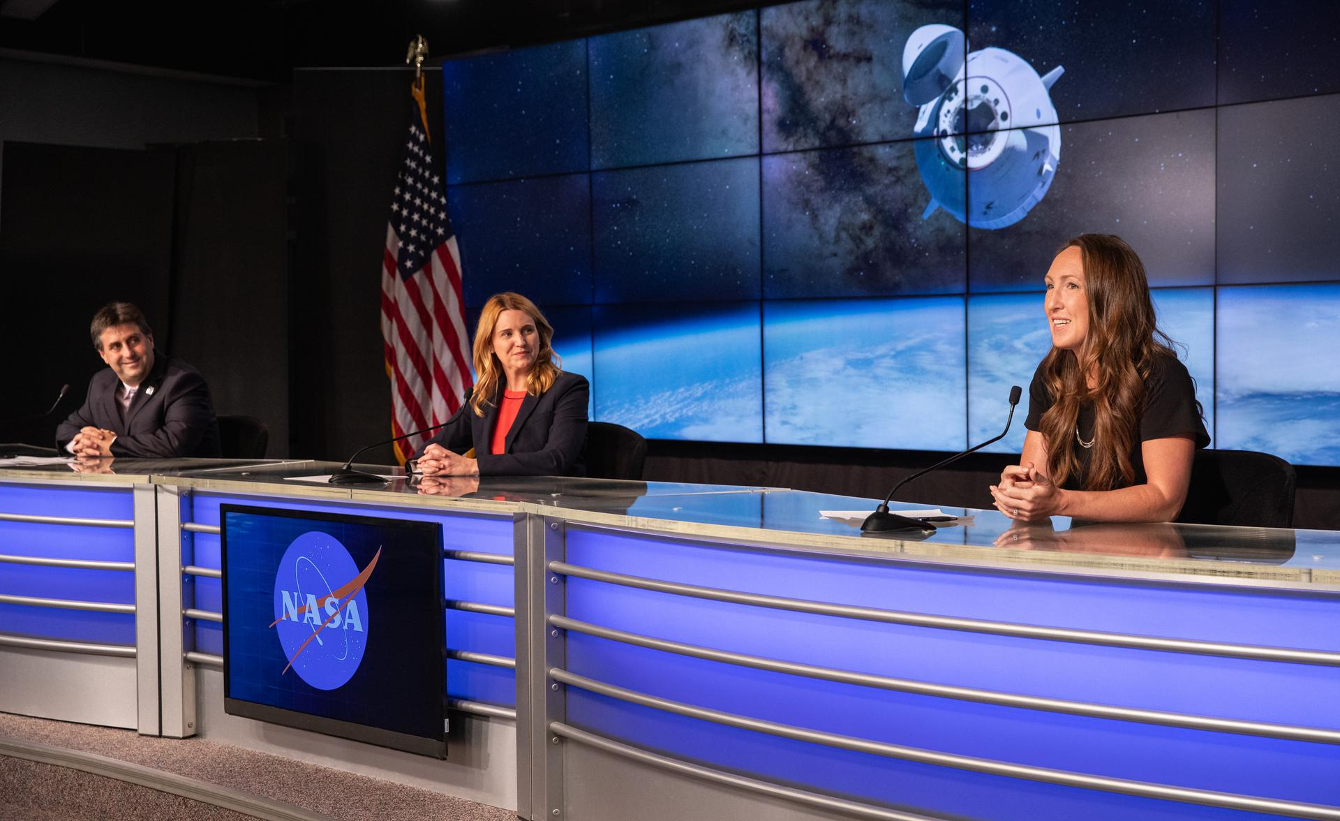 A prelaunch news conference is held at NASA's Kennedy Space Center in Florida on June 2, 2021, in preparation for SpaceX's 22nd cargo resupply mission.