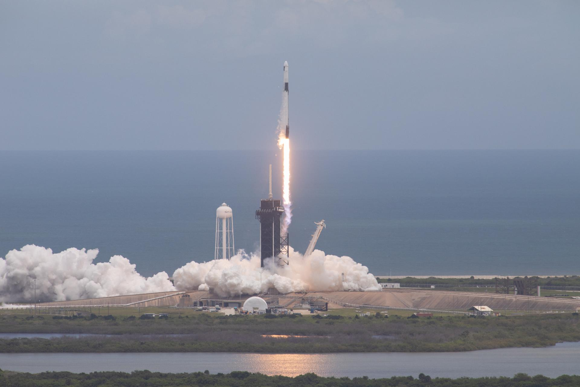 A SpaceX Falcon 9 rocket and Dragon spacecraft lift off from Kennedy Space Center's Launch Complex 39A on June 3, 2021.