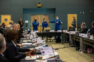 """NASA astronauts for Boeing's Crew Flight Test, Commander Barry """"Butch"""" Wilmore, Pilot Nicole Mann, and Joint Ops Commander Mike Fincke addressed the Flight Readiness Review for the uncrewed OFT-2 mission. Their flight currently is targeted for late 2021."""