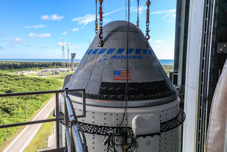 The Boeing CST-100 Starliner spacecraft is secured atop a United Launch Alliance Atlas V rocket at the Vertical Integration Facility at Space Launch Complex 41 at Cape Canaveral Space Force Station in Florida on July 17, 2021. Starliner will launch on the Atlas V for Boeing's second Orbital Flight Test (OFT-2) for NASA's Commercial Crew Program. The spacecraft rolled out from Boeing's Commercial Crew and Cargo Processing Facility at NASA's Kennedy Space Center earlier in the day.