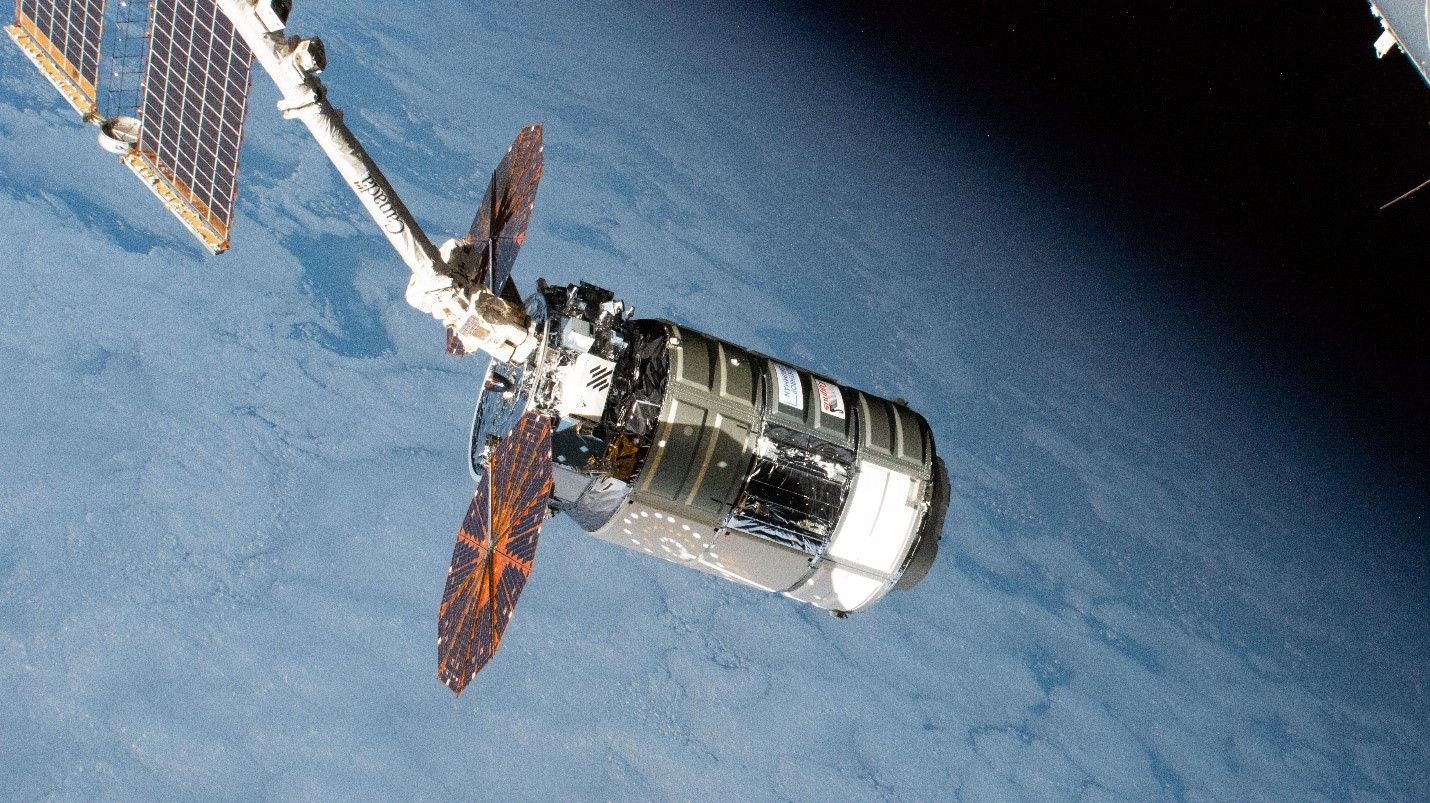 The Cygnus space freighter from Northrop Grumman is pictured moments after its capture with the Canadarm2 robotic arm.